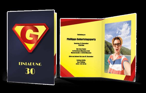 Einladungskarte Superheld
