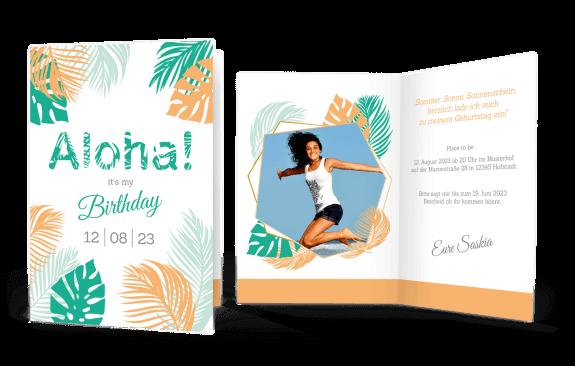 Geburtstagseinladung  Aloha! in Deiner Wunschfarbe