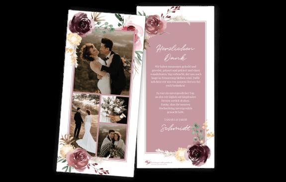 Dankeskarte DIN Lang Floral Bouquet
