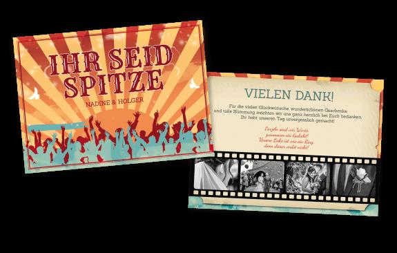 Festival-Danksagungskarte mit Filmstreifen