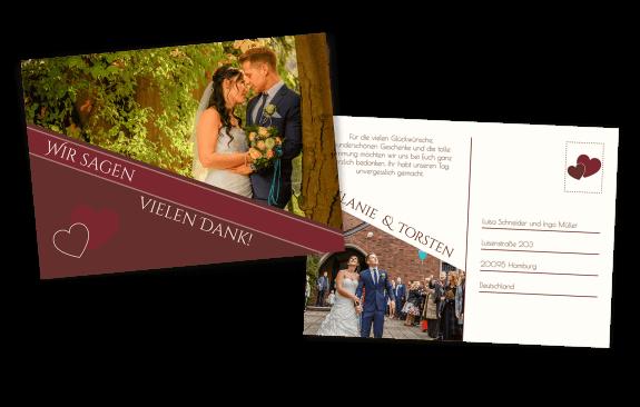 Danksagung Hochzeits-Postkarte