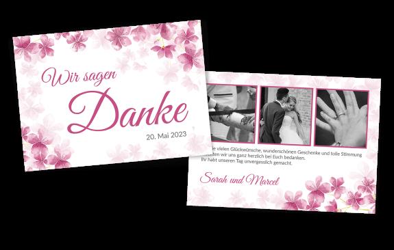 Danksagungskarte mit Kirschblüten