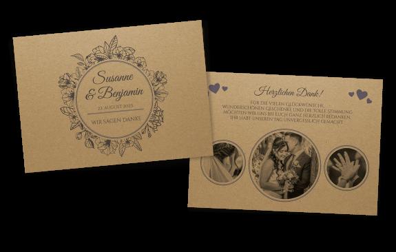 Die perfekte Vintage-Dankeskarte auf Kraftpapier