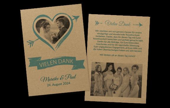 "Danksagungskarte auf Kraftpapier ""Amor"""