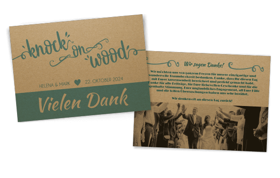 "Dankeskarte ""knock on wood"" auf Kraftpapier"