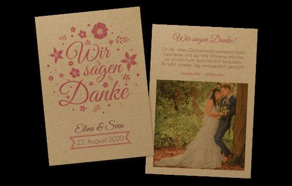 """Florale Dankeskarte auf Kraftpapier """"Wir sagen Ja"""""""