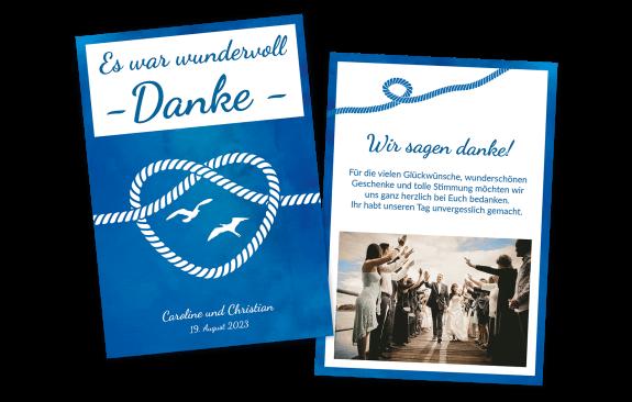 """Danksagungskarte """"Maritim"""" – Hochformat"""
