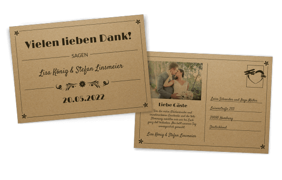 Retro Postkarte auf Kraftpapier