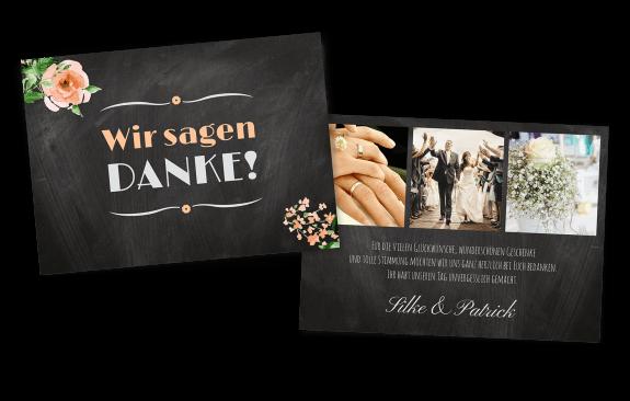 """Danksagungskarte """"Schiefer"""" mit Vintage-Blumen"""