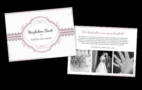 Ihre persönliche Vintage-Dankeskarte im Querformat