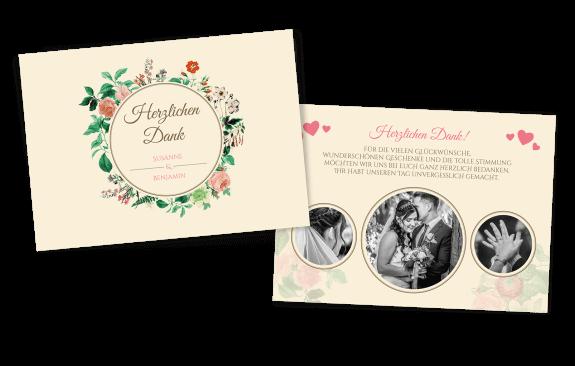 Florale Danksagungskarte im Vintage-Look