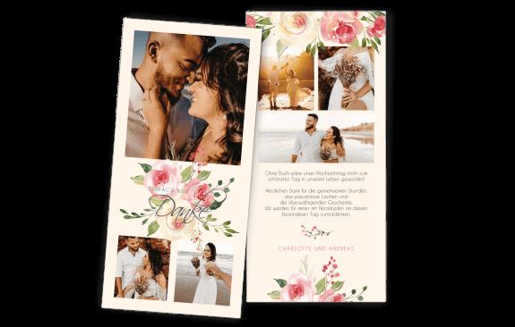 Danksagungskarte Pastell-Blumen