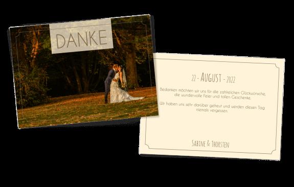 Dankeskarte zur Hochzeit mit Bild