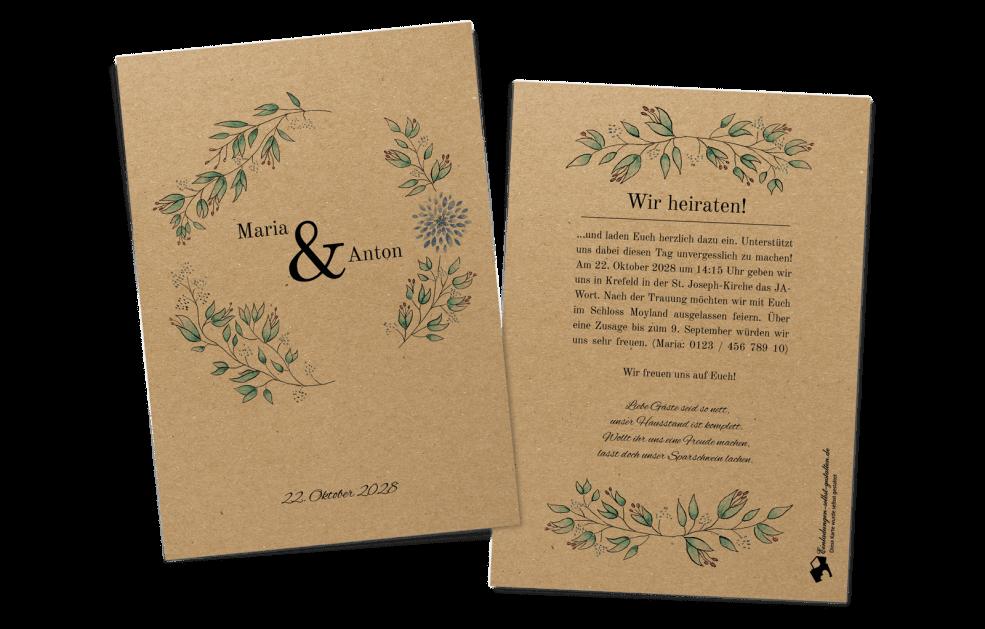 Blumenzauber Hochzeitskarte auf Kraftpapier