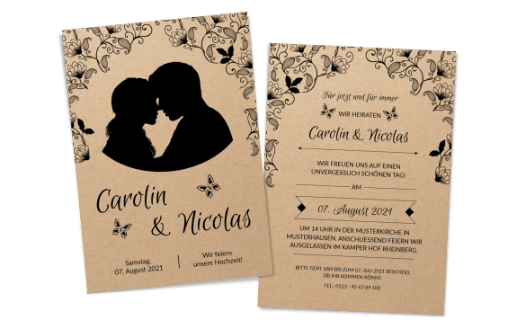 """Hochzeitskarte auf Kraftpapier """"Couple"""""""