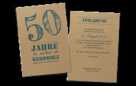 """Geburtstagseinladung """"Auf dem Kerbholz"""" auf Kraftpapier"""