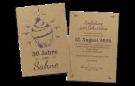 """Geburtstagskarte """"Erste Sahne"""" auf Kraftpapier"""