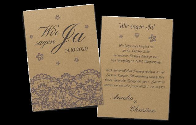 Spitzen-Einladungskarte auf Kraftpapier – für Ihre Hochzeit