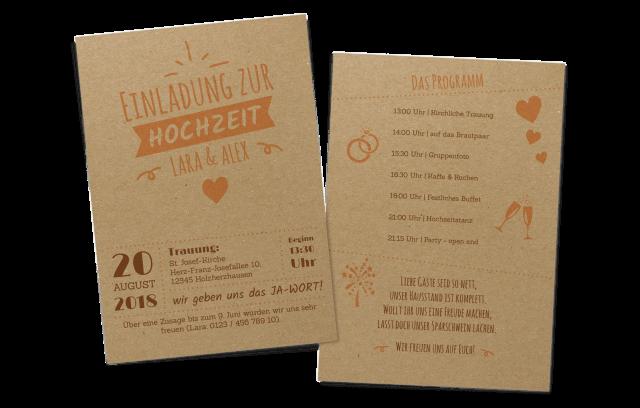 Hochzeitseinladung auf Kraftpapier mit Programm