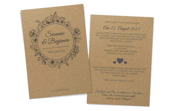 Vintage-Hochzeitseinladung auf Kraftpapier