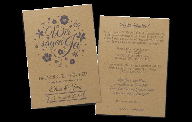 """Florale Einladung auf Kraftpapier """"Wir sagen Ja"""""""
