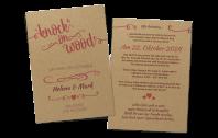 """Einladungskarte """"knock on wood"""" auf Kraftpapier"""
