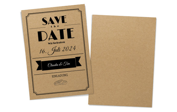 Save the Date Karte Kraftpapier