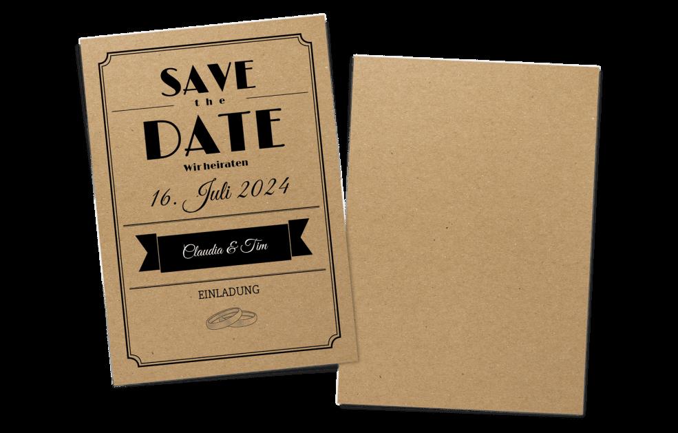 Save the Date Karte Kraftpapier