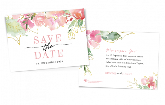 Save-the-Date-Karte Flowers of Love quer