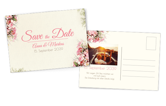 Vintage Save-the-Date Postkarte mit Blumen