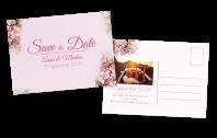 Vintage Save-the-Date Postkarte mit Blumen