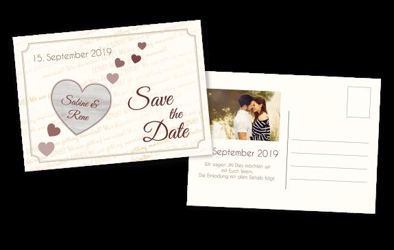 Postkarte Holzoptik Herz