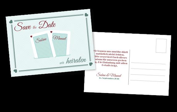 Türkis SavetheDate Kartenspiel