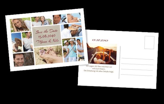 Save the Date Postkarte Weiß viele Bilder