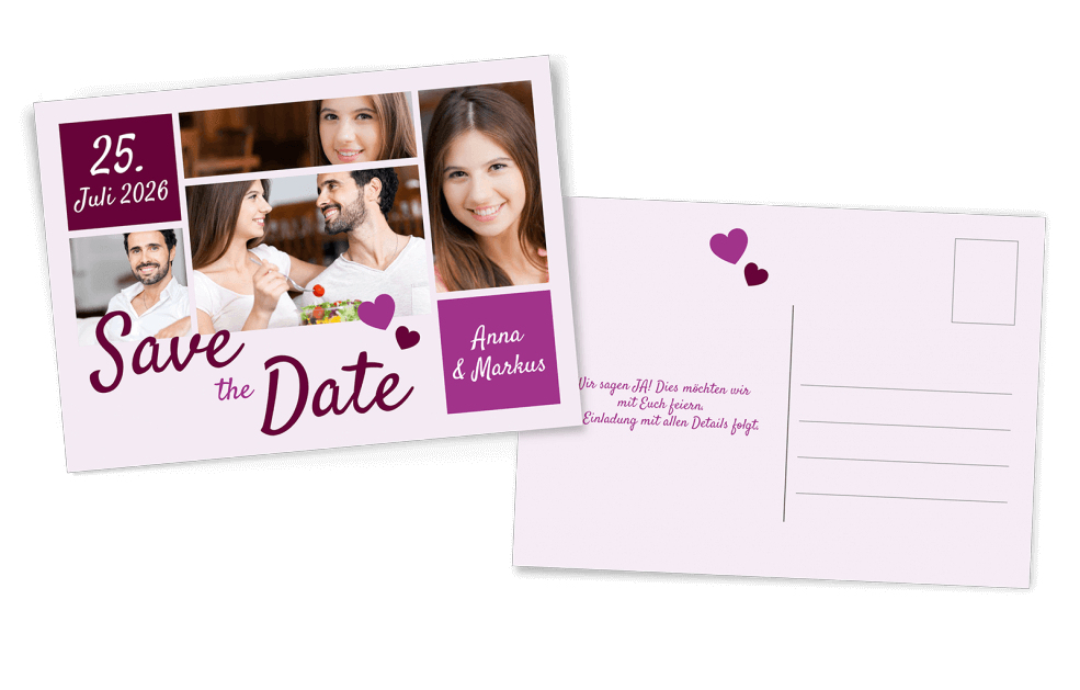 Save the Date Postkarte Lilatöne viele Bilder