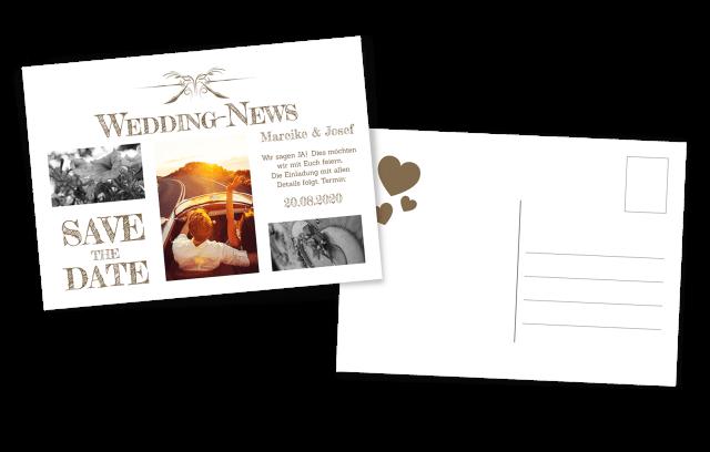 Postkarte Hochzeitsnews