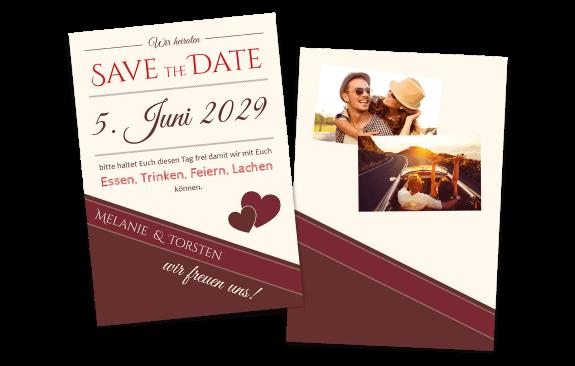 Save the Date Karte - Rottöne
