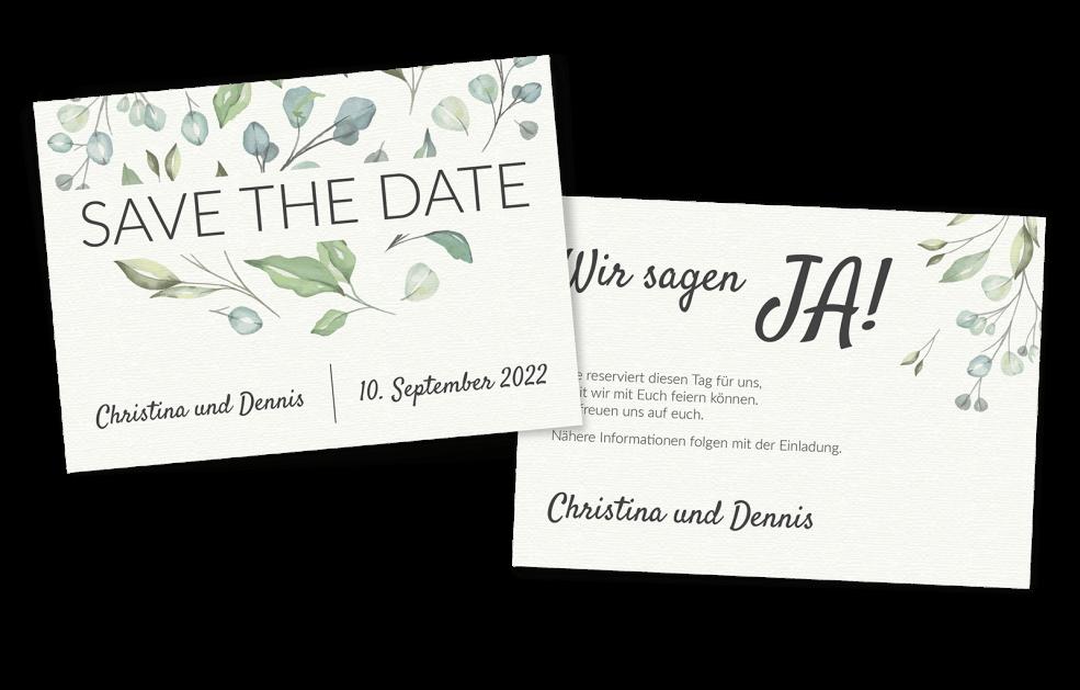 Save the Date (Querformat) im Boho-Stil