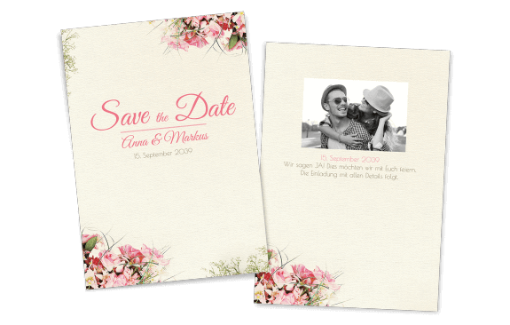 Save the Date Karte Vintage-Blumen