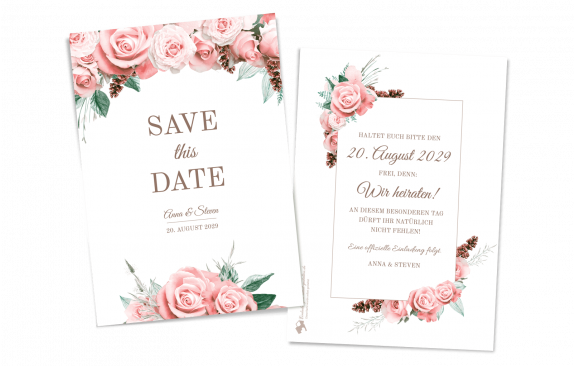 Lovely Pastel Flowers - Save the Date Karte