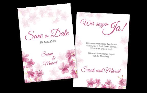 Save the Date mit Kirschblüten