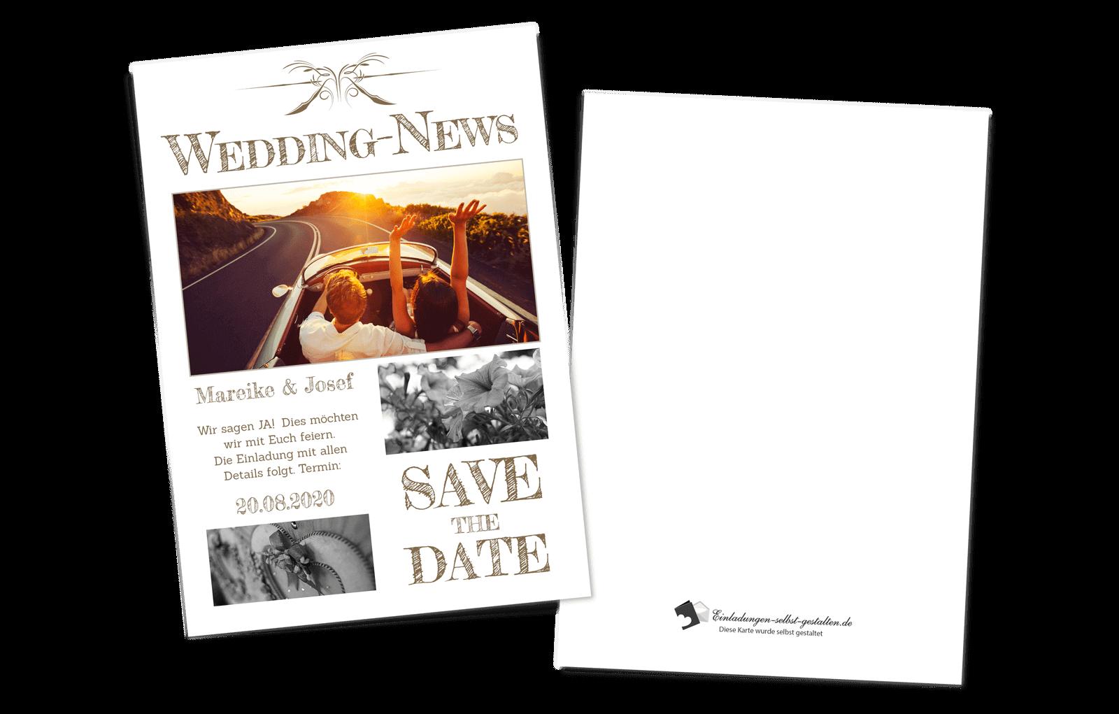 Einladungskarten Hochzeit Hochzeitskarten Vintage mit Druck Zeitung News