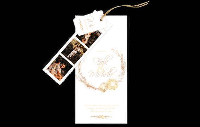 3-Fach Hochzeitskarte Pampasgras Kranz