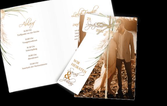 Hochzeitseinladung Klappkarte Dia-Set Pampasgras Vintage