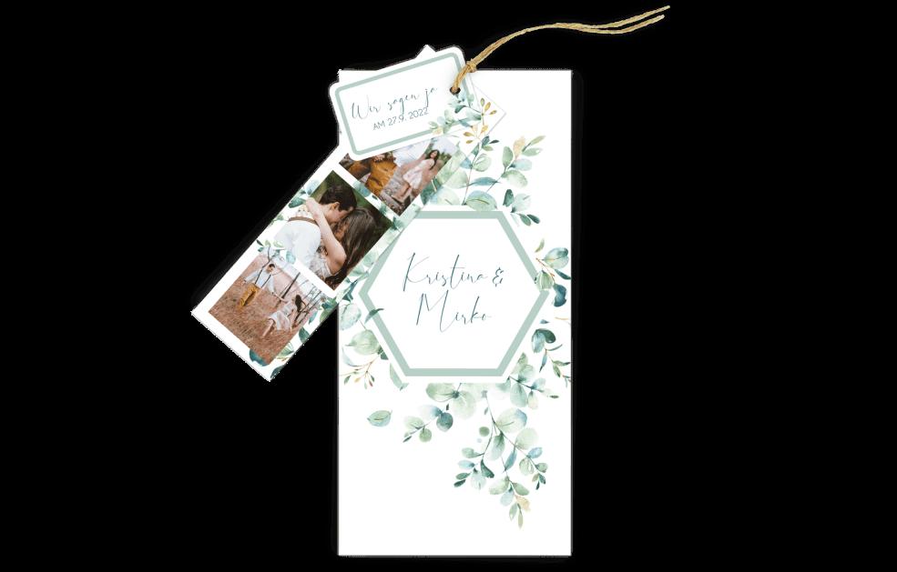 Hochzeitskarte Dia-Set Greenery Love