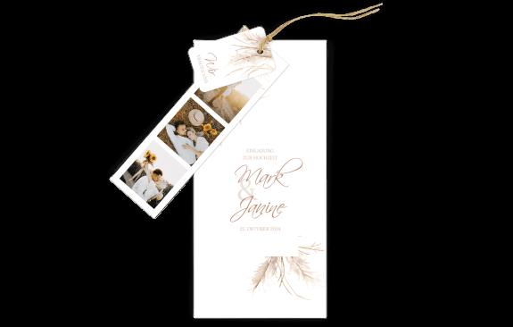 3-Fach Hochzeitskarte Pampasgras