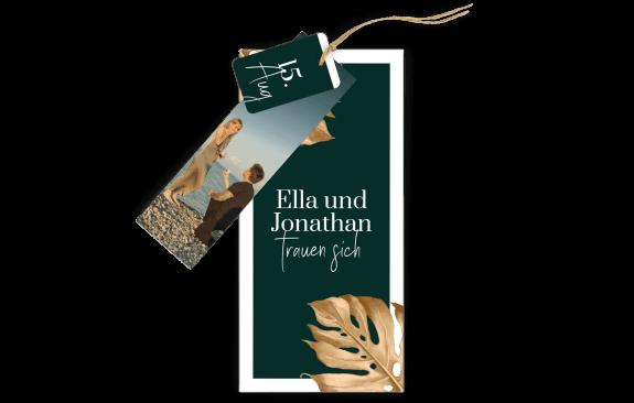 3-Fach-Hochzeitskarte Tropical Gold