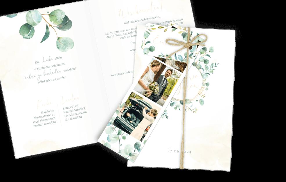 Hochzeitskarte Eukalyptus – Greenery Dia-Set