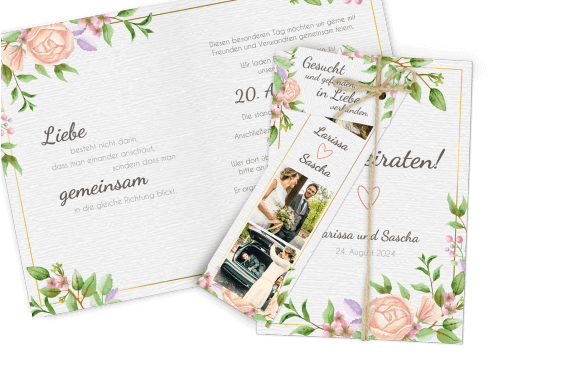 Hochzeitskarte Aquarell-Vintageblumen Dia-Set