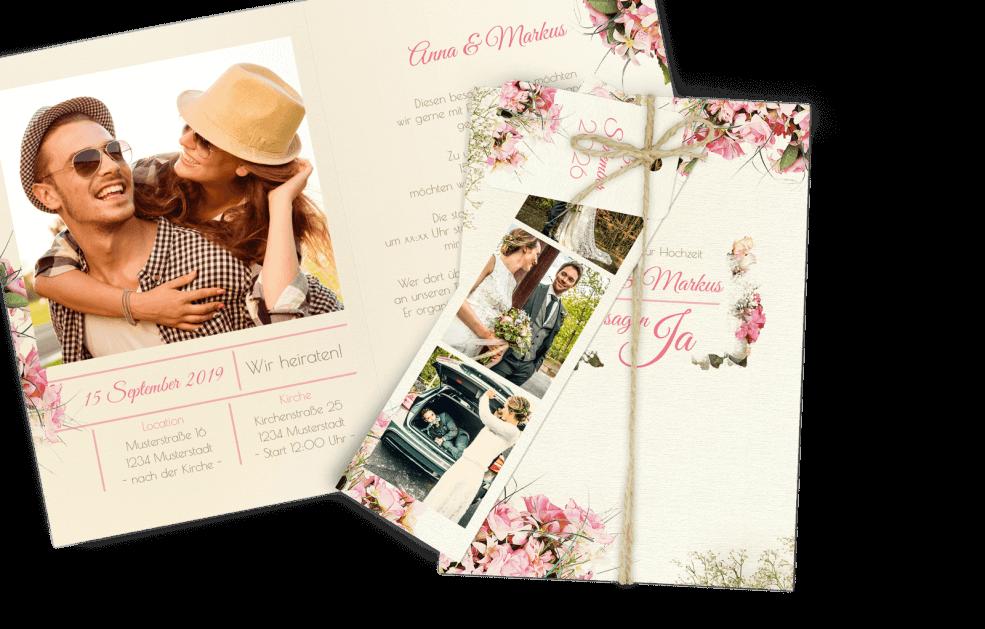 Einladungskarte Vintage Blumen Dia-Set